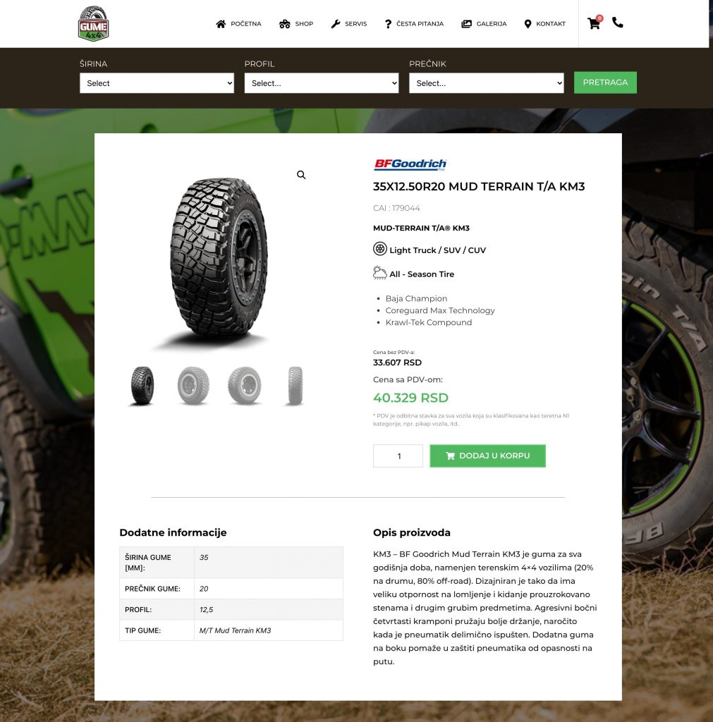 Product page 4x4